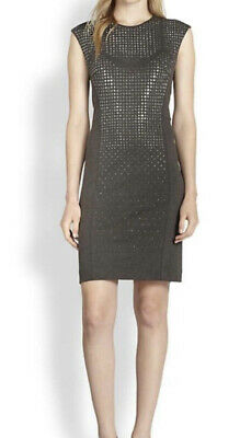 Rebecca Taylor Women's Nailhead Studded Sheath Dress Gray Stretch Excellent sz 6
