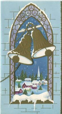 VINTAGE CHRISTMAS GOLD CHURCH BELLS PURPLE CHURCH WINDOW VILLAGE GREETING CARD