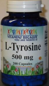 L-Tyrosine 500mg Energy-Chronic Fatigue-Focus-Depression 200 caps 6 Month Supply