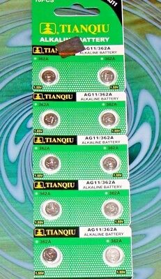 10 Pc's Watch Batteries  AG11 362 LR721 FREE SHIPPING in the USA Expires 2021