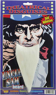 Uncle Sam Beard USA Patriotic White Fancy Dress Up Halloween Costume Accessory