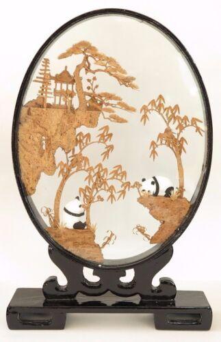"Chinese Cork Sculpture Picture w/ Pandas Wood Framed Glass Encasement Oval 15""H"