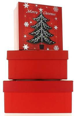 Set Of 3 Medium Christmas Square Nested Gift Boxes - Modern Red Black Xmas Tree