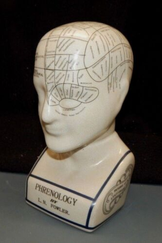 """PHRENOLOGY Fortune Telling Head Psychic Bust Cranium By Fowler 9 1/2"""" Porcelain"""