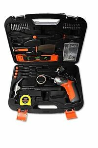 Cordless Electric Screwdriver Drill + Household DIY All-Purpose Tool Set Kit Box