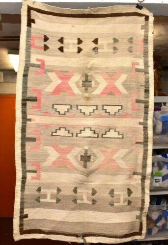 LG Vintage Navajo Blanket Rug native american indian Transitional ANTIQUE  57x33