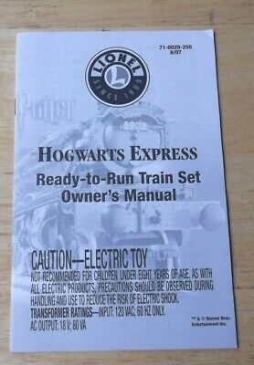 2007 Lionel Hogwarts Express Ready To Run Train Set Owner's Manual