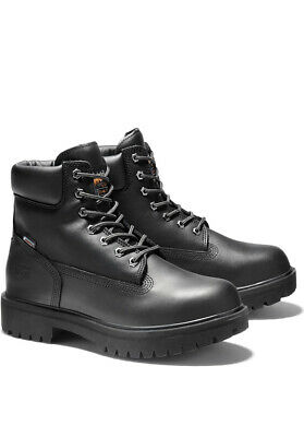 NEW Men's Timberland PRO 6 Inch Steel Toe Work Boots Direct Attach Black Leather