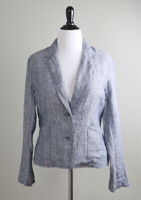 EILEEN FISHER $198 Linen Railroad Striped Chambray Light Jacket Top Size Large
