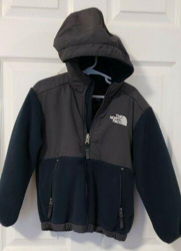 The North Face; Boys Denali Fleece Full Zip Jacket size XS 6 Grey Navy