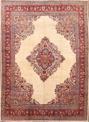 Beige Mahal Rectangle Rug - Antique Geometric Open Field IVORY Mahal Oriental Area Rug Tuscan Carpet 10x14