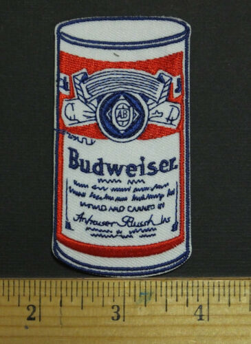 Budweiser Bud Beer Can Style Embroidered Iron-on Patch NEW STYLE