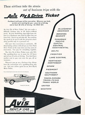 1957 Avis Rental Ford Fairlane Vintage Advertisement Car Print Ad J487