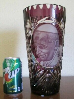 Pope John Paul, 11 Inch Amethyst Purple Cut To Clear Vase Near Excellent - $103.59