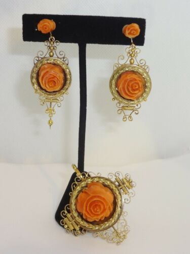Antique 14K Yellow Gold Coral Roses Earrings & Pendant / Brooch Set 33.9 gm