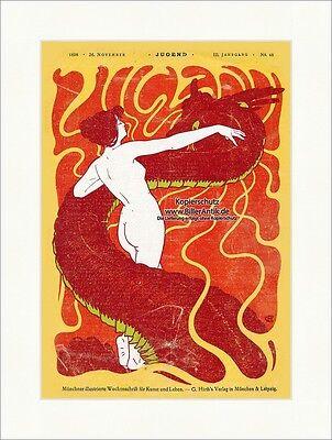 Titelseite der Nummer 48 von 1898 Hans Christiansen Drache Frau Akt Jugend 3151