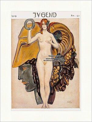 Titelseite der Nummer 52 von 1919 Paul Rieth Frau Akt Jugendstil Jugend 4247