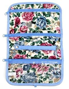 Jewellery Floral  Roll Pouch Travel Holiday Makeup Bag Case Zipped Compartments
