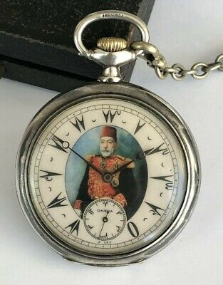 Rare Ottoman Turkish Award Sultan Mehmed V Antique Omega Silver Pocket Watch
