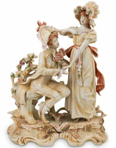 """Antique Continental Huge Porcelain Figurine Couple, 13"""" H x 10"""" W."""