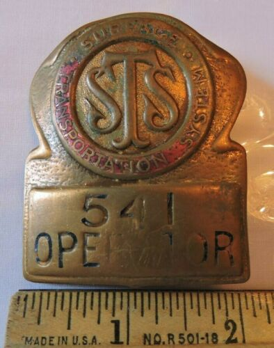 Vintage Surface Transportation System New York City NYC Trolley Operator Badge
