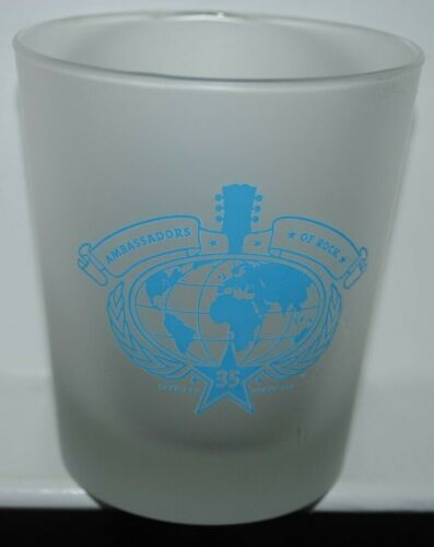 """Hard Rock Cafe frosted highball glass, 35 Years, Ambassadors of Rock, 4"""""""