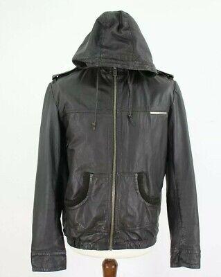 SUPERDRY Black Leather Jacket size M