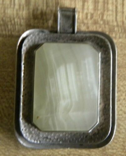 Vintage 835 Sterling Silver Signed Green Stone Pendant
