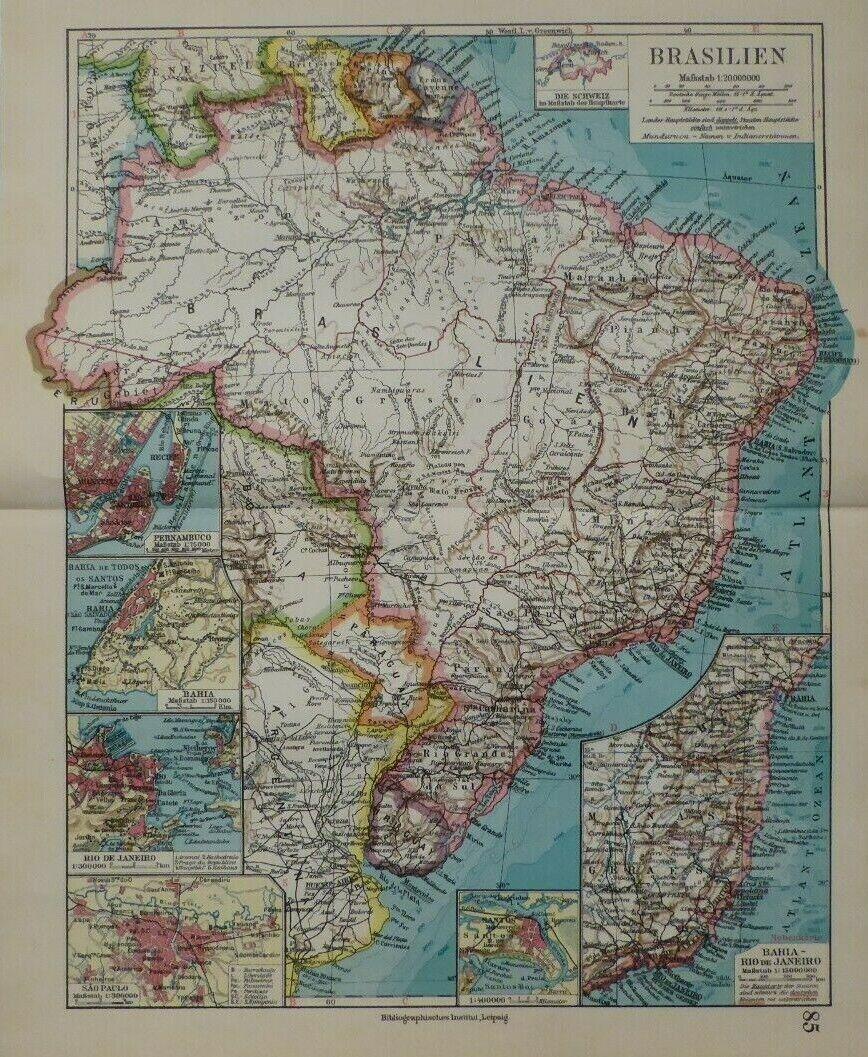 Landkarte Südamerika, Brasilien, Rio de Janeiro, Sao Paulo, Meyer Leipzig 1928
