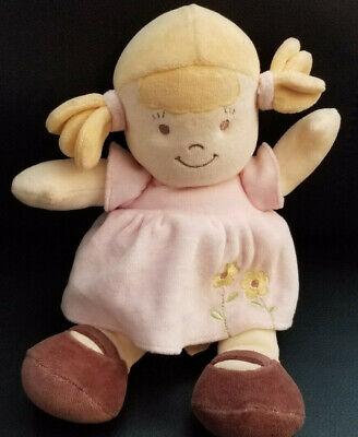Dandelion Organic Cotton Plush Blonde Baby Doll in Pink Flower Dress - 10