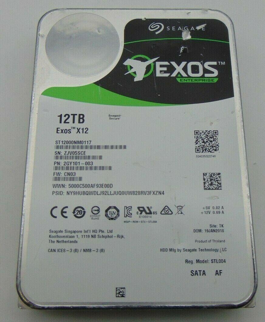Seagate Exos X12 12TB SATA 3.5 100 Health W/Cosmetic Issues ST12000NM0117 - $250.00