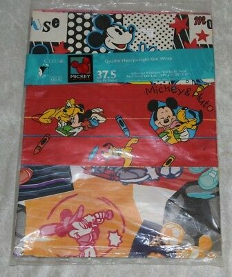 Mickey Mouse Gift Wrapping Paper (Vintage CLEO MICKEY MOUSE Heavyweight Gift Wrap Wrapping Paper 37.5 Square Ft.)