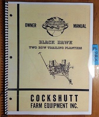 Cockshutt Black Hawk 2 Row 115t Check 135t Drill Trailing Planter Owners Manual