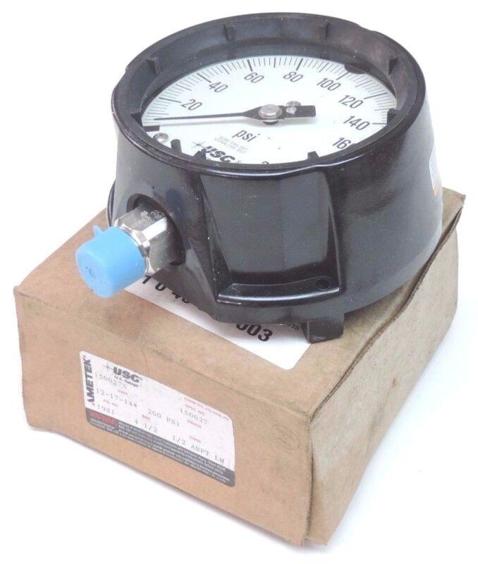 """NIB AMETEK 150027X PRESSURE GAUGE 0-200PSI, 1/2"""" NPT, 4-1/2"""" SIZE"""