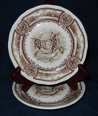 SET OF 2 VINTAGE J & G MEAKIN AMERICANA STYLE HOUSE IRONSTONE SAUCERS
