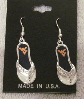 WEST VIRGINIA MOUNTAINEERS  FLIP FLOP   HOOK EARRINGS NWT