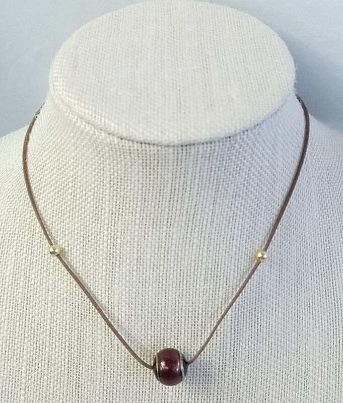 Brown Leather Red Black and Gold Bead Necklace