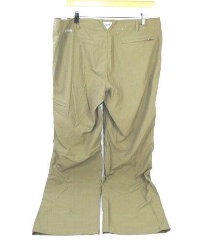 "Columbia PFG  Pants Womens Size14 Omni Shade Zip Pocket Hiking Tan 32"" Inseam"