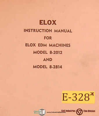 Elox 8-2012 8-2814 Edm Instructions Wiring And Parts Manual 1961