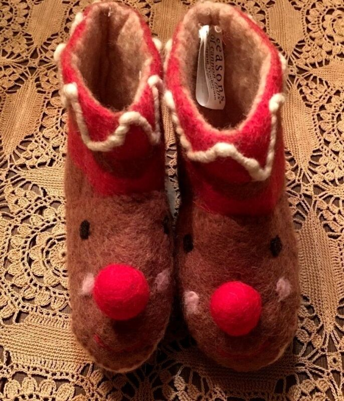 NWT Hand Woven Felted Wool Artisan Toddler Rudolph Booties/Slippers-Midwest CBK
