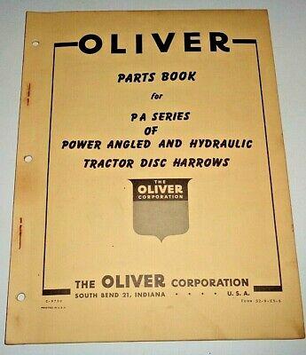 Oliver Pa Series Tractor Disc Harrow Parts Catalog Manual Book Original Disk