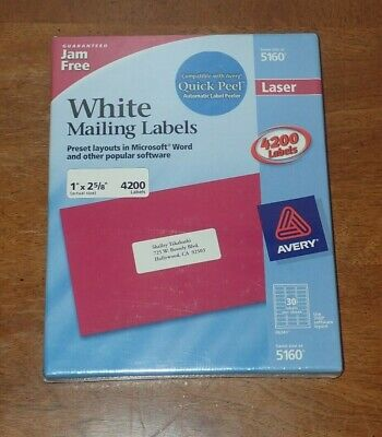 Avery 5160 Laser White Address Labels 1 X 2-58 4200 Labels Brand New