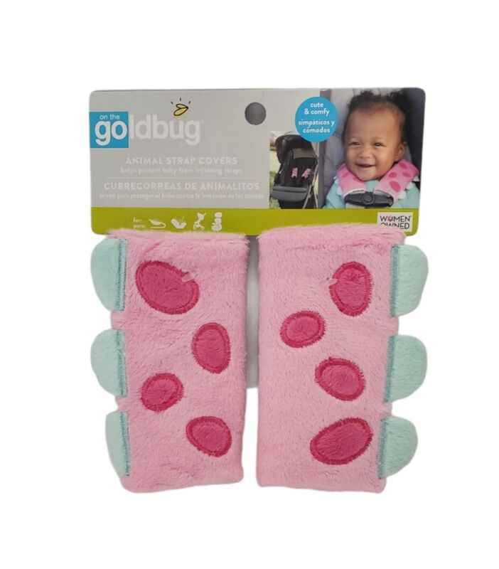Goldbug Animal Strap Covers--Pink Dinosaur Car Seat Belt Covers NWT