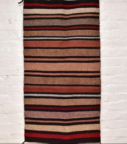 Vtg Navajo Blanket Rug native american indian Striped  Saddle Blanket ATQ 44x24