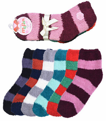 6 Pair of Women Fuzzy Soft Slipper Socks Plush Striped Colors Warm and Cozy Clothing, Shoes & Accessories