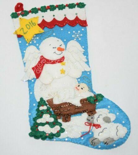 Bucilla 2015 SNOW ANGEL Felt Christmas Stocking 86646 Baby Jesus Lamb Finished