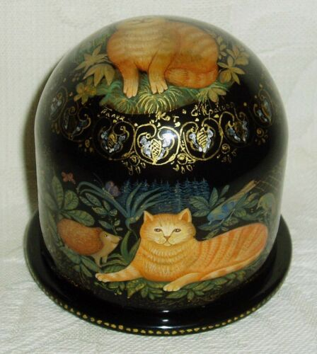 """Russian Lacquer box Palekh """" Cat Adventures """" Semisphere shaped Hand Painted"""