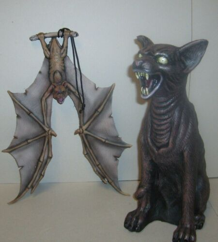 ZOMBIE WALKING DEAD CAT & HANGING BAT PROP HALLOWEEN PARTY PROP FIGURES