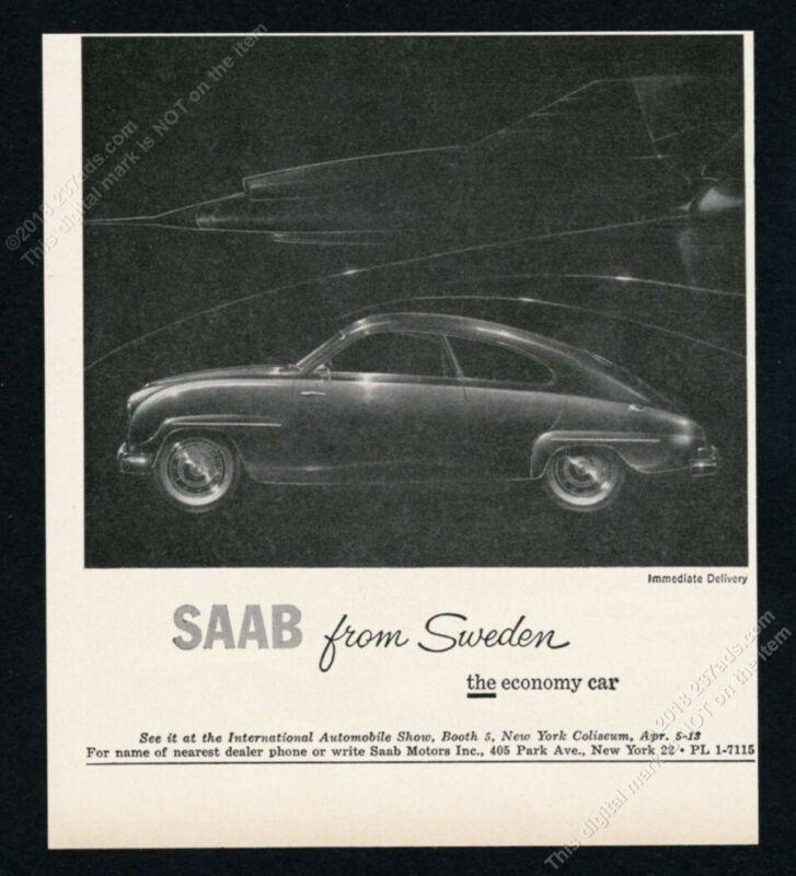 1958 Saab 93 car & fighter jet plane art vintage print ad