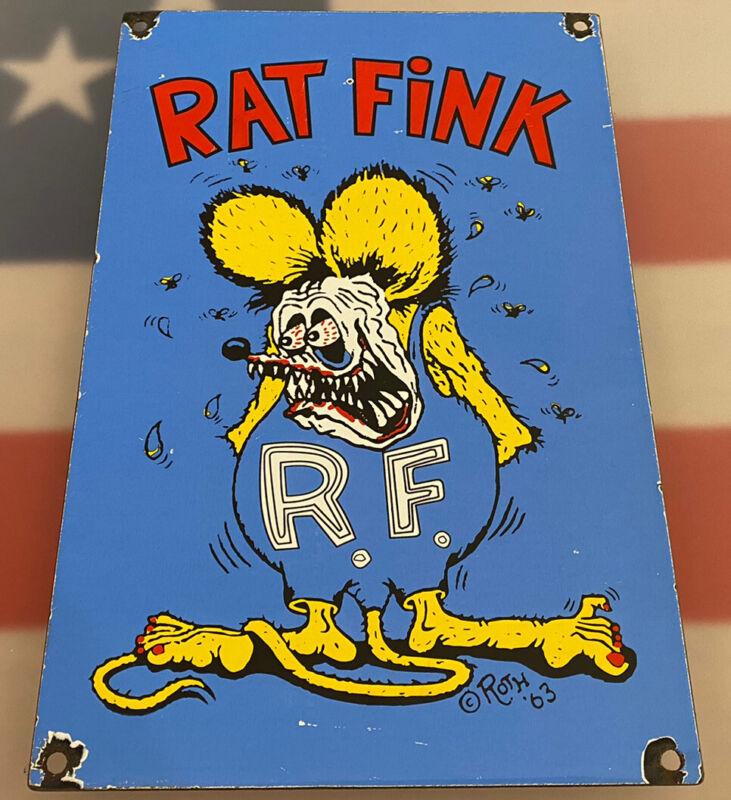 """VINTAGE RAT FINK PORCELAIN SIGN, HOT ROD, ED """"BIG DADDY"""" ROTH, GAS, OIL, FORD"""